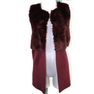 The Limited Petite Vegan Fur Long Vest Sweater